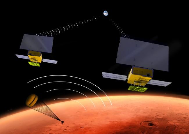 NASA가 2016년 가을에 화성 하늘에 띄울 큐브 위성을 상상한 그림. - (주)동아사이언스 제공